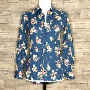 Billabong fitted blue floral shirt